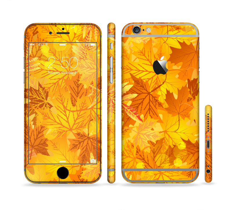 The Abstract Fall Leaves Sectioned Skin Series for the Apple iPhone 6/6s Plus