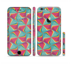 The Abstract Opened Green & Pink Cubes Sectioned Skin Series for the Apple iPhone 6/6s