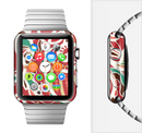 The Abstract Red & Green Vector Pattern Full-Body Skin Set for the Apple Watch