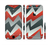 The Abstract Red, Grey and White ZigZag Pattern Sectioned Skin Series for the Apple iPhone 6/6s
