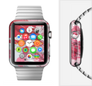The Abstract Red, Pink and White Paint Splatter Full-Body Skin Set for the Apple Watch