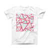 The Abstract Red and Teal Overlaps ink-Fuzed Front Spot Graphic Unisex Soft-Fitted Tee Shirt