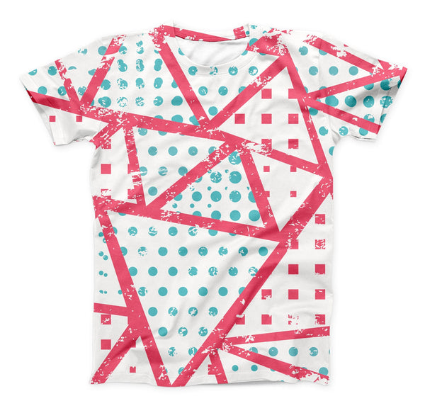 The Abstract Red and Teal Overlaps ink-Fuzed Unisex All Over Full-Printed Fitted Tee Shirt