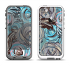 The Abstract Subtle Toned Floral Strokes Apple iPhone 5-5s LifeProof Fre Case Skin Set