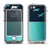 The Abstract Swirled Two Toned Green with Birds Apple iPhone 5-5s LifeProof Nuud Case Skin Set