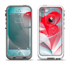 The Abstract Teal & Red Love Connect Apple iPhone 5-5s LifeProof Fre Case Skin Set