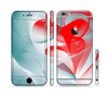 The Abstract Teal & Red Love Connect Sectioned Skin Series for the Apple iPhone 6/6s