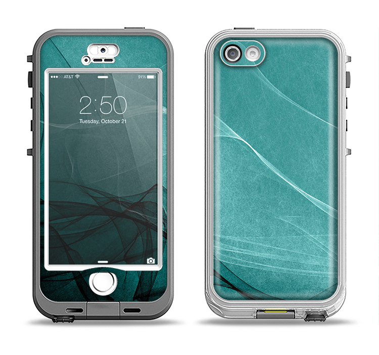 The Abstract Teal and Black Curves Apple iPhone 5-5s LifeProof Nuud Case Skin Set