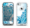 The Abstract Vibrant Blue Swirled Apple iPhone 5-5s LifeProof Fre Case Skin Set