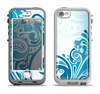 The Abstract Vibrant Blue Swirled Apple iPhone 5-5s LifeProof Nuud Case Skin Set