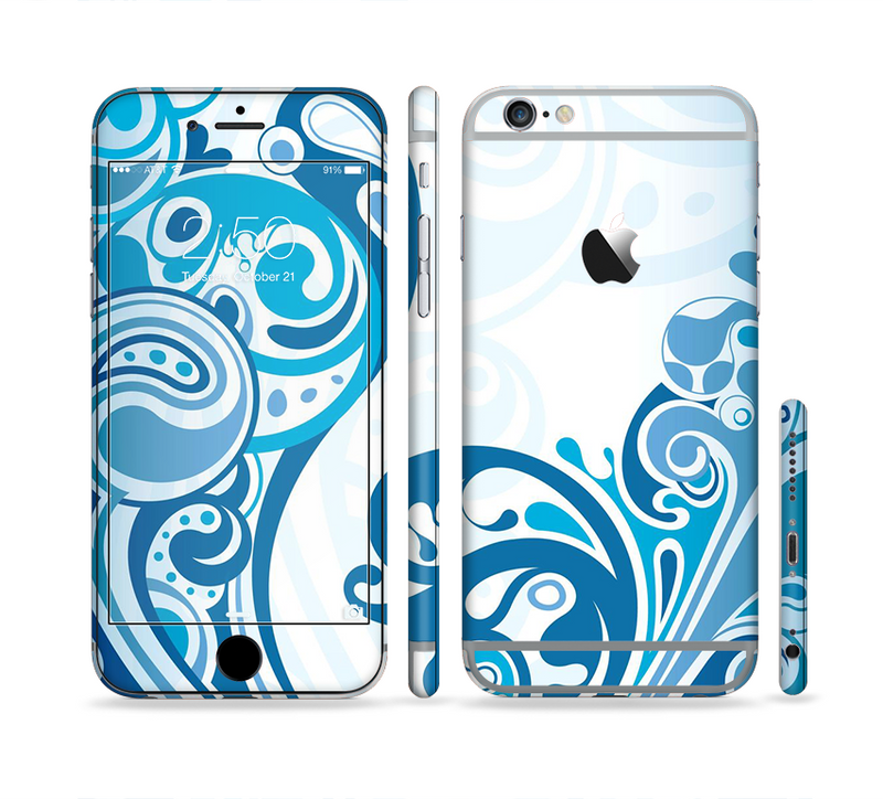 The Abstract Vibrant Blue Swirled Sectioned Skin Series for the Apple iPhone 6/6s Plus