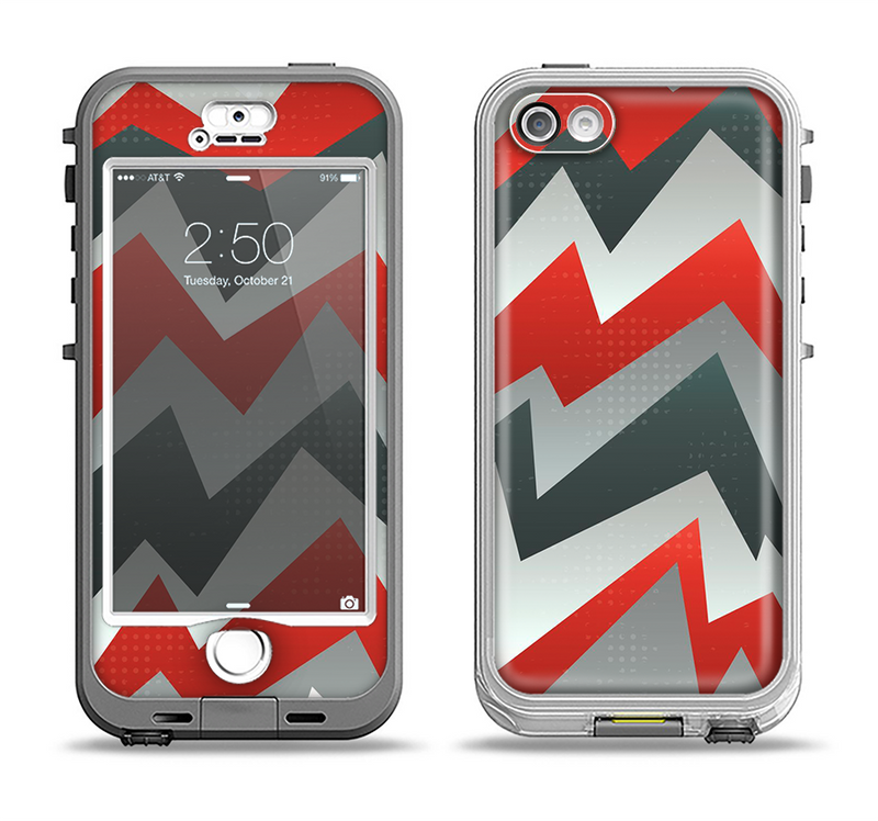 The Abstract ZigZag Pattern v4 Apple iPhone 5-5s LifeProof Nuud Case Skin Set