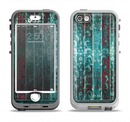 The Aged Blue Victorian Striped Wall Apple iPhone 5-5s LifeProof Nuud Case Skin Set