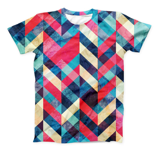 The Angled Colored Pattern ink-Fuzed Unisex All Over Full-Printed Fitted Tee Shirt