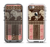The Aztec Pink & Brown Lion Pattern Apple iPhone 5-5s LifeProof Fre Case Skin Set