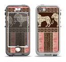 The Aztec Pink & Brown Lion Pattern Apple iPhone 5-5s LifeProof Nuud Case Skin Set