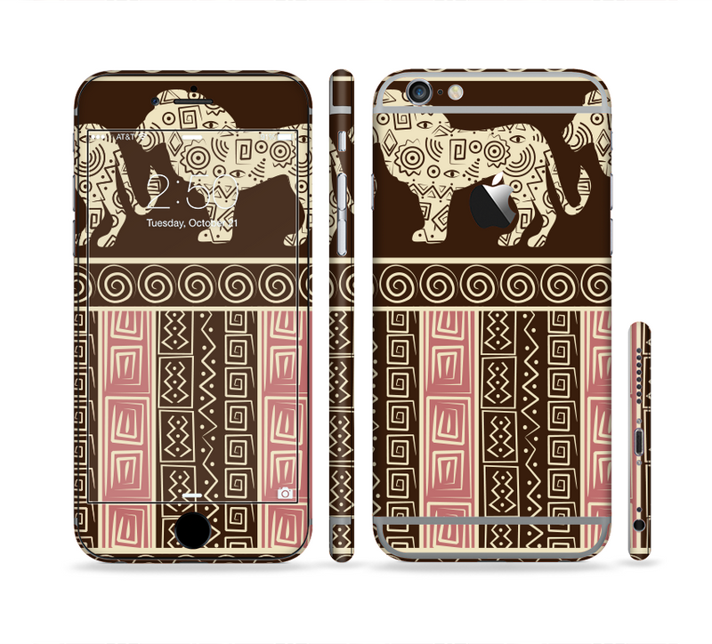 The Aztec Pink & Brown Lion Pattern Sectioned Skin Series for the Apple iPhone 6/6s Plus