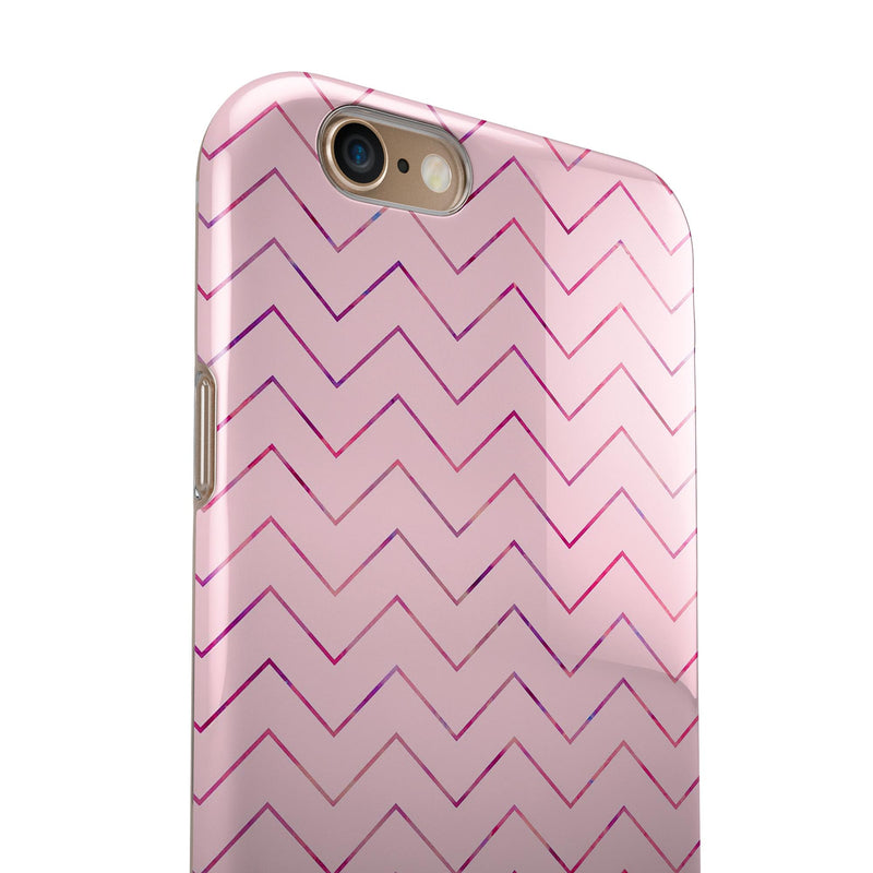 The Baby Pink Multicolored Chevron Patterns iPhone 6/6s or 6/6s Plus 2-Piece Hybrid INK-Fuzed Case
