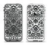 The Black Floral Delicate Pattern Apple iPhone 5-5s LifeProof Fre Case Skin Set