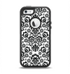 The Black Floral Delicate Pattern Apple iPhone 5-5s Otterbox Defender Case Skin Set