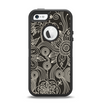 The Black Floral Laced Pattern V2 Apple iPhone 5-5s Otterbox Defender Case Skin Set