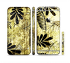 The Black & Gold Grunge Leaf Surface Sectioned Skin Series for the Apple iPhone 6/6s