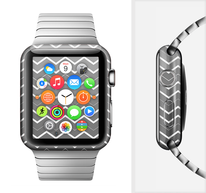 The Black Gradient Layered Chevron Full-Body Skin Set for the Apple Watch