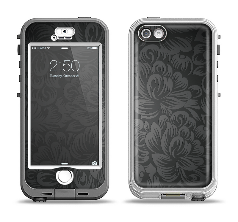 The Black & Gray Dark Lace Floral Apple iPhone 5-5s LifeProof Nuud Case Skin Set