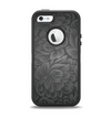 The Black & Gray Dark Lace Floral Apple iPhone 5-5s Otterbox Defender Case Skin Set