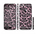 The Black & Pink Floral Design Pattern V2 Sectioned Skin Series for the Apple iPhone 6/6s Plus