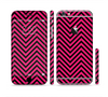The Black & Pink Sharp Chevron Pattern Sectioned Skin Series for the Apple iPhone 6/6s