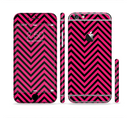 The Black & Pink Sharp Chevron Pattern Sectioned Skin Series for the Apple iPhone 6/6s Plus