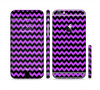 The Black & Purple Chevron Pattern Sectioned Skin Series for the Apple iPhone 6/6s