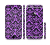 The Black & Purple Delicate Pattern Sectioned Skin Series for the Apple iPhone 6/6s