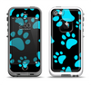 The Black & Turquoise Paw Print Apple iPhone 5-5s LifeProof Fre Case Skin Set