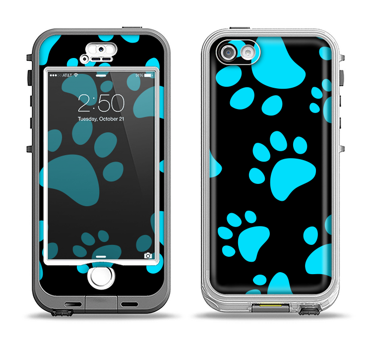 The Black & Turquoise Paw Print Apple iPhone 5-5s LifeProof Nuud Case Skin Set