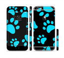 The Black & Turquoise Paw Print Sectioned Skin Series for the Apple iPhone 6/6s Plus