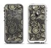 The Black & Vintage Green Paisley Apple iPhone 5-5s LifeProof Fre Case Skin Set