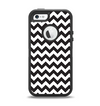 The Black & White Chevron Pattern Apple iPhone 5-5s Otterbox Defender Case Skin Set