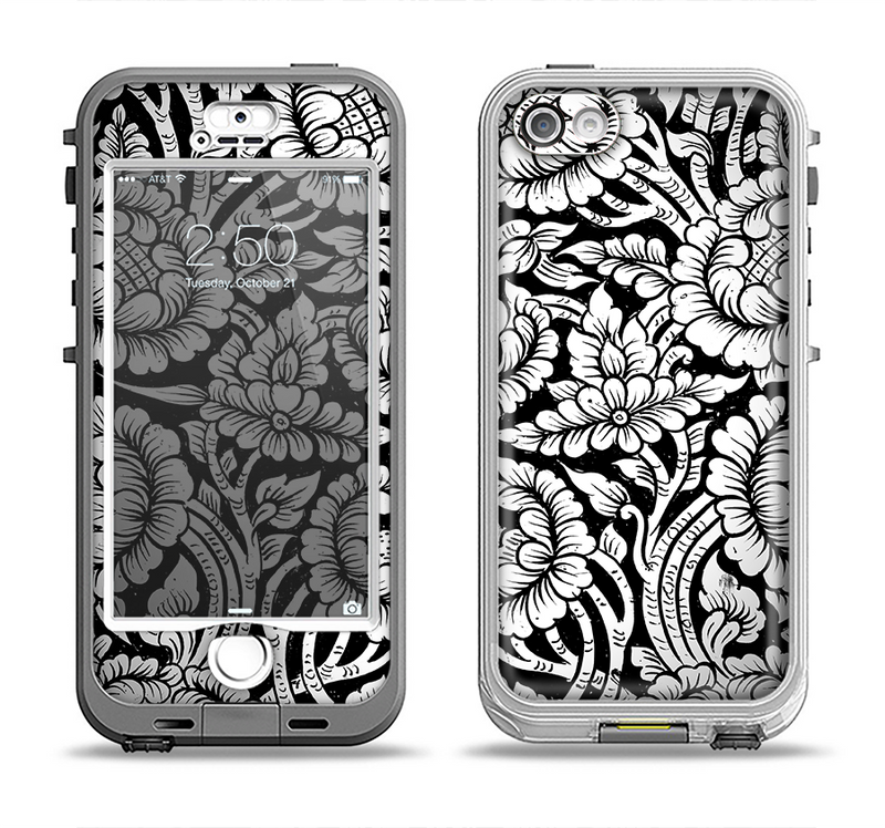 The Black & White Mirrored Floral Pattern V2 Apple iPhone 5-5s LifeProof Nuud Case Skin Set