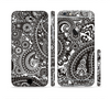 The Black & White Paisley Pattern V1 Sectioned Skin Series for the Apple iPhone 6/6s