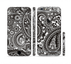 The Black & White Pasiley Pattern Sectioned Skin Series for the Apple iPhone 6/6s