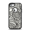 The Black & White Vector Floral Connect Apple iPhone 5-5s Otterbox Defender Case Skin Set
