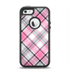 The Black and Pink Layered Plaid V5 Apple iPhone 5-5s Otterbox Defender Case Skin Set
