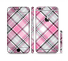 The Black and Pink Layered Plaid V5 Sectioned Skin Series for the Apple iPhone 6/6s