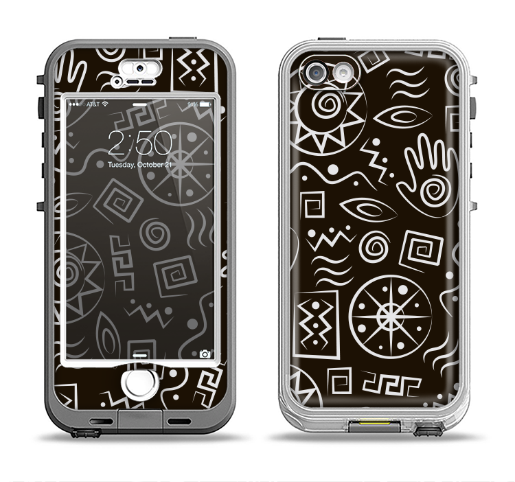 The Black and White Cave Symbols Apple iPhone 5-5s LifeProof Nuud Case Skin Set