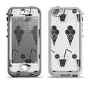 The Black and White Icecream and Drink Pattern Apple iPhone 5-5s LifeProof Nuud Case Skin Set