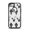 The Black and White Icecream and Drink Pattern Apple iPhone 5-5s Otterbox Defender Case Skin Set