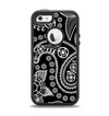 The Black and White Paisley Pattern v14 Apple iPhone 5-5s Otterbox Defender Case Skin Set