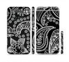 The Black and White Paisley Pattern v14 Sectioned Skin Series for the Apple iPhone 6/6s Plus